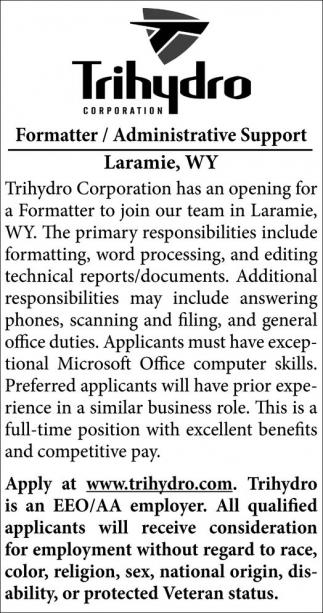 Formatter, Administrative Support