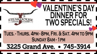 Valentine's Day Dinner for Two Specials!