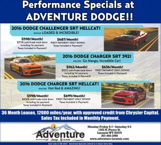 Performance specials at ADVENTURE DODGE!!!