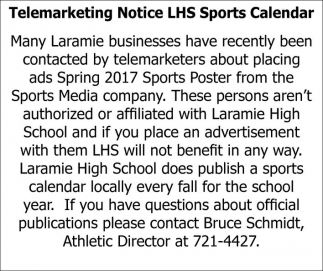 Telemarketing Notice LHS Sports Calendar