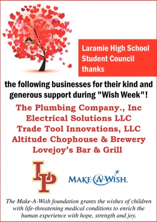 The Student Council Thanks the Following Businesses