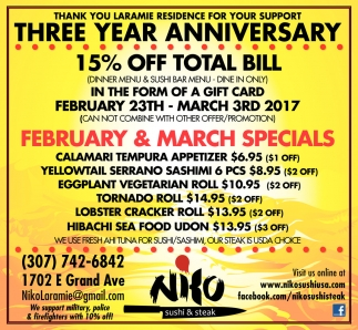 February and March Specials