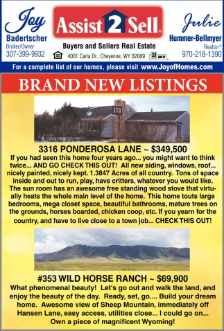 Assist To Sell >> Brand New Listings Assist 2 Sell Laramie Wy