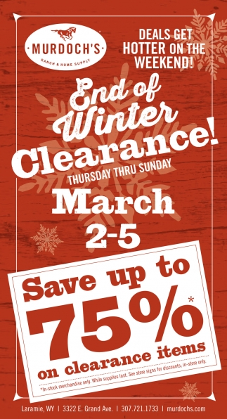End of winter clearance!