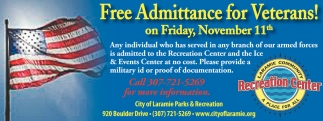 Free Admittance for Veterans!!