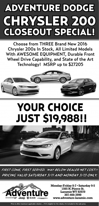 Adventure Dodge Chrysler 200 Closeout Special!
