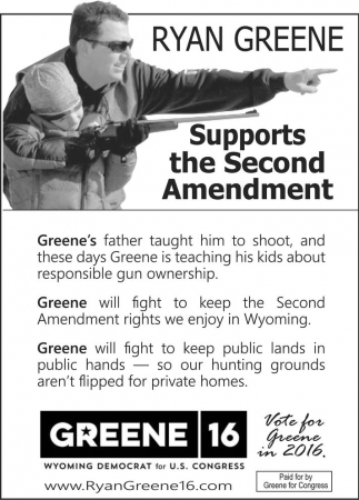 Ryan Greene Supports the Second Amendment
