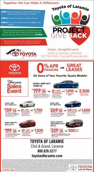 Toyota Of Laramie >> Together We Can Make A Difference Toyota Of Laramie Laramie Wy