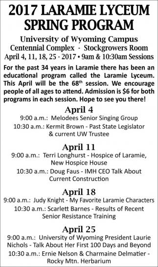 2017 Laramie Lyceum Spring Program