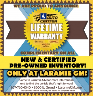 We are proud to announcia LIFETIME WARRANTY complementary on ALL