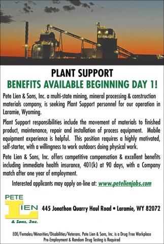 Plant Support Benefits Available Beginning Day 1!