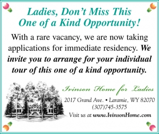 Ladies, Don't miss this one of a Kind Opportunity!