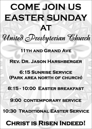 Come Join Us Easter Sunday!