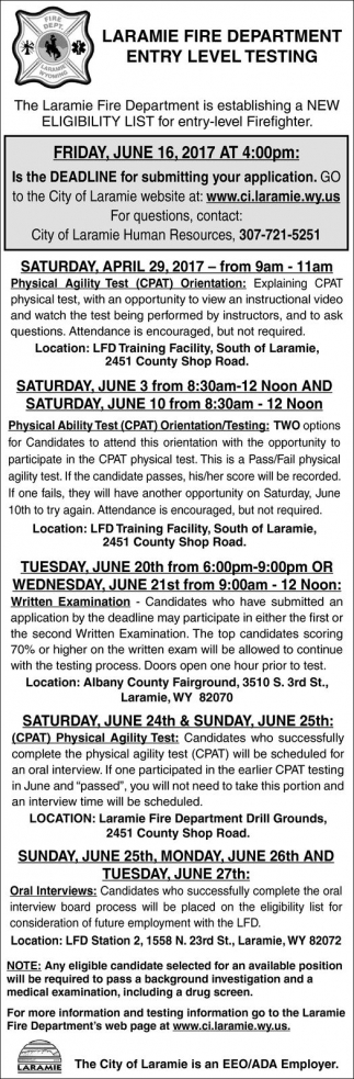 Laramie Fire Department Entry Level Testing