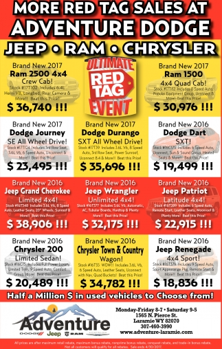 More red tag sales at adventure dodge