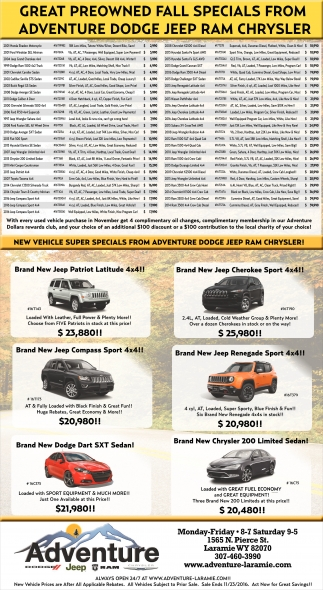New Vehicle Super Specials From Adventure Dodge Jeep Ram Chrysler!