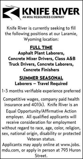 Seeking to fill the following positions