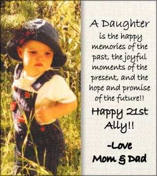 Happy 21st. Ally!