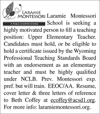 Seeking highly motivated person to fill a teacher position