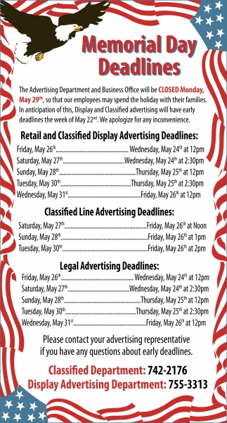 Memorial Day Deadlines