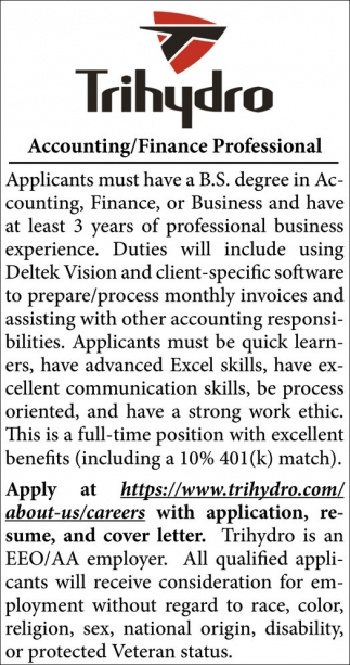 Applicants must have a B.S. degree