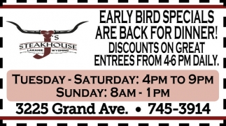 Early Bird Specials Are Back For Dinner!