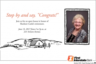 Stop by and Say, ''Congrats!''
