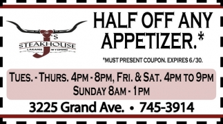 Half off any appetizer