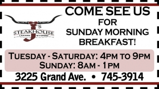 Come see us for sunday morning breakfast!