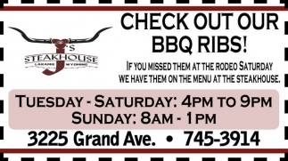 Check out our BBQ Ribs!