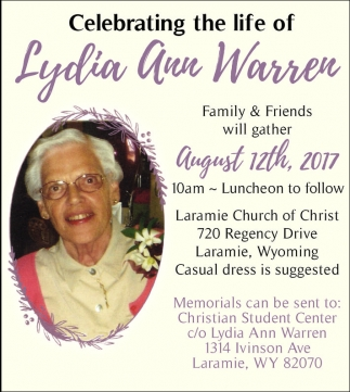 Celebrating the life of Lydia Ann Warrer