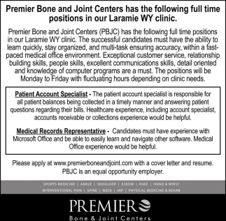 Premier Bone and Joint Centers Following Openings