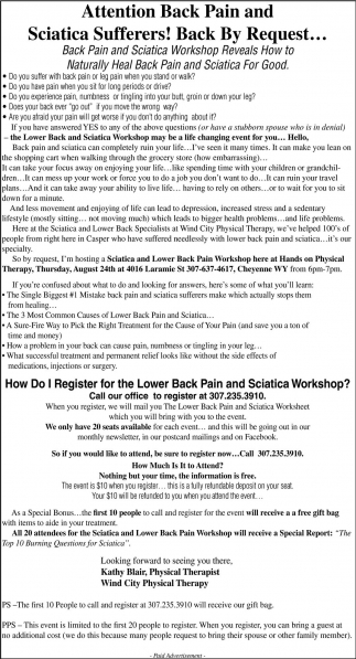 Back Pain And Sciatica Workshop