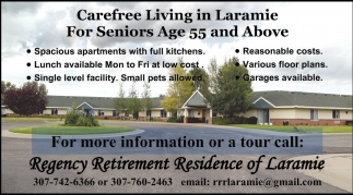 Ads For Regency Retirement Residence Of Laramie In Laramie, WY