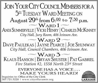 Join your city council members for a 5th Tueday Ward Meeting