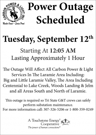 Power Outages Scheduled