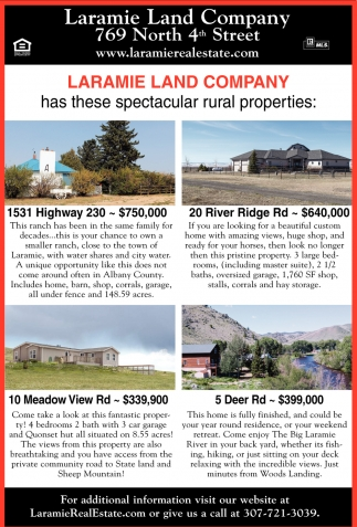 Laramie Land Company has these spectacular rural properties