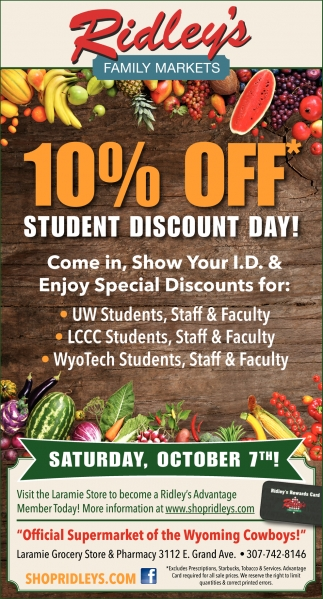 10% OFF* Student Discount Day!