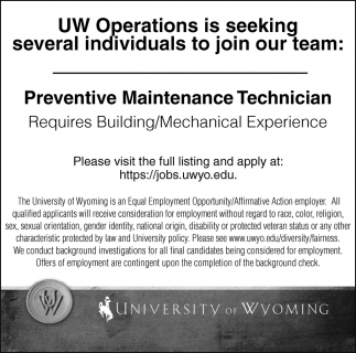 UW Operations is seeking several individuals to join our team