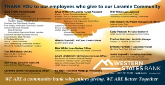 Thank you to our employees who give to our Laramie Community