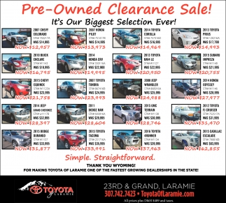 Pre-owned Clearance Sale!