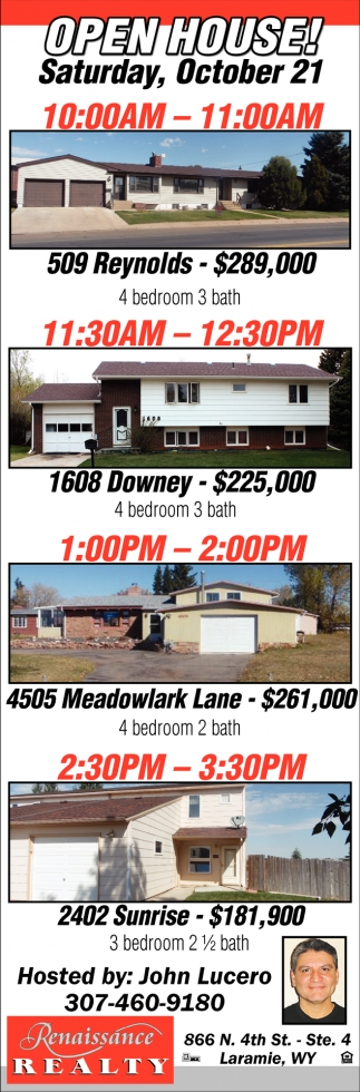 Open House Saturday, October 21