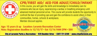 CPR/FIRST AID/AED FOR ADULT/CHILD/INFANT