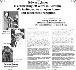 Edward Jones Is Celebrating 50 Years In Laramie.