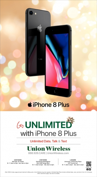 Unlimited wiith Iphone 8 Plus, Union Wireless, Cheyenne, WY