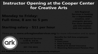 Instructor Opening at the Cooper Center for Creative Arts