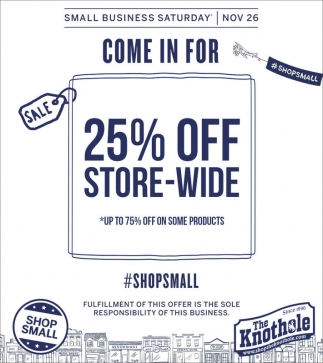 Come in for 25% OFF Store-wide