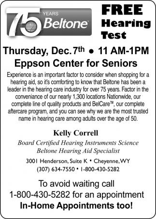 Free hearing test for seniors