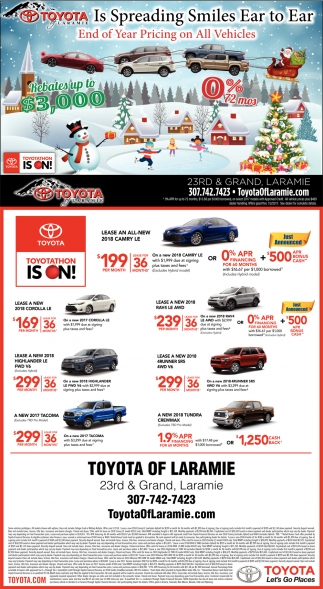 End Of Year Pricing on All Vehicles