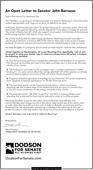 Open Letter to senator John Barrasso